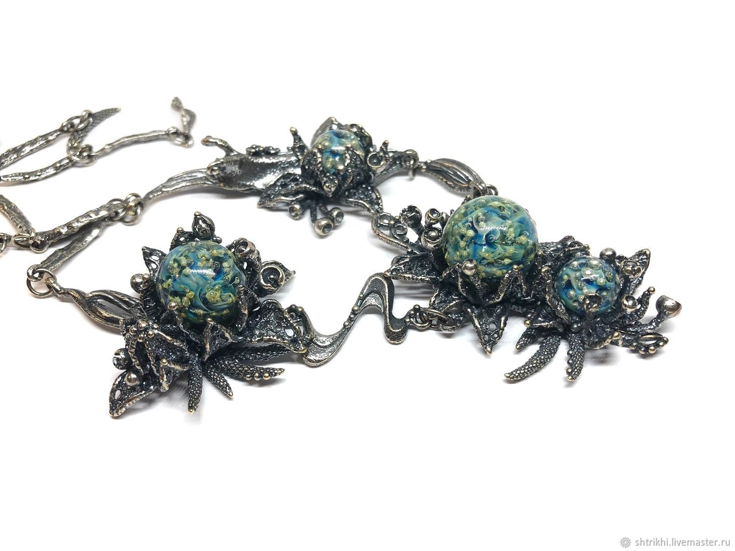 Eclogue Necklace. The author's work with the fittings annabronze lampwork, Necklace, Moscow,  Фото №1
