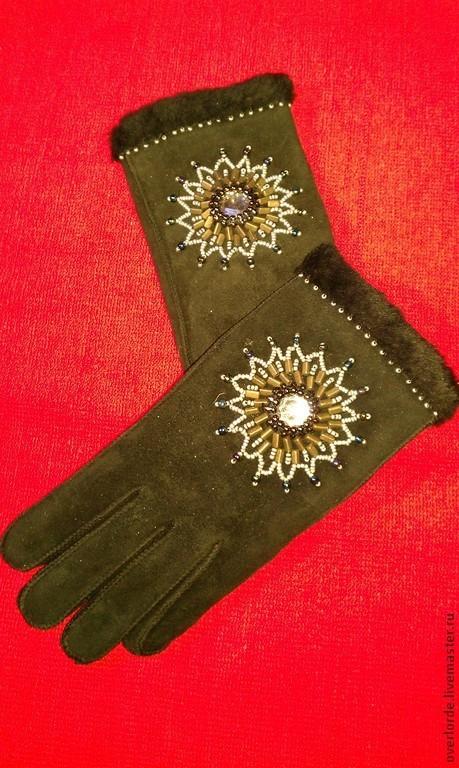 """Варежки, митенки, перчатки ручной работы. Ярмарка Мастеров - ручная работа. Купить Перчатки """"Зимний рассвет"""". Handmade. Черный, кожа"""
