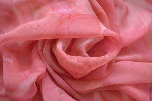 Платок `Цветочек аленький`, батик, шифон