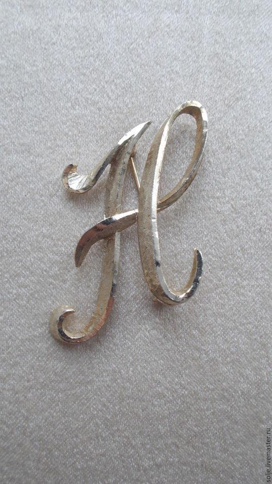Винтажная брошь. Буква Н. США. 1970-е. Mamselle. Инициал. Ярмарка мастеров