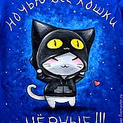 """Футболки ручной работы. Ярмарка Мастеров - ручная работа Футболка """"Ночью все кошки чёрные!"""". Handmade."""