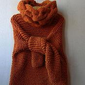 Одежда handmade. Livemaster - original item Orange womens sweater chunky knit. Handmade.