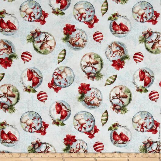 """Шитье ручной работы. Ярмарка Мастеров - ручная работа. Купить Новогодняя ткань """"Шарики бело-голубой"""" для тильды, пэчворка. Handmade."""