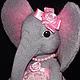 Игрушки животные, ручной работы. Ярмарка Мастеров - ручная работа. Купить Слонёнок девочка в нарядном кружевном сарафане. Handmade. Подарок
