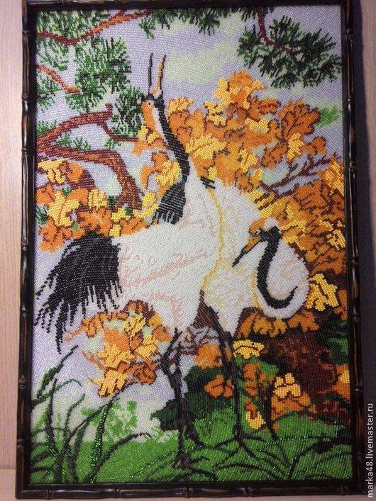 Пейзаж ручной работы. Ярмарка Мастеров - ручная работа. Купить Журавли и ирисы. Handmade. Разноцветный, птица счастья, любовь, багет