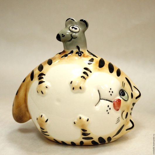 Статуэтки ручной работы. Ярмарка Мастеров - ручная работа. Купить Новая работа Кошки -мышки  фарфор. Handmade. Оранжевый