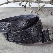 Аксессуары handmade. Livemaster - original item Straps: Men`s belt Black and grey. Handmade.