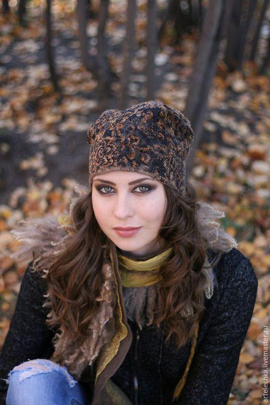 """Шапки ручной работы. Ярмарка Мастеров - ручная работа. Купить Шапка  """"Дикий лес"""" теплая. Handmade. Валяная шапка, коричневый"""