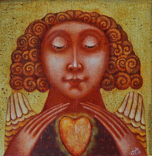 """Фантазийные сюжеты ручной работы. Ярмарка Мастеров - ручная работа. Купить """"Золотое сердце"""", авторская печать. Handmade. Желтый, подарок"""