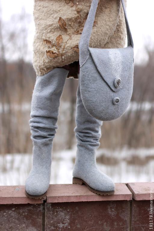 """Обувь ручной работы. Ярмарка Мастеров - ручная работа. Купить Ботфорты + сумочка """"Серая галька"""". Handmade. Серый, ботфорты"""