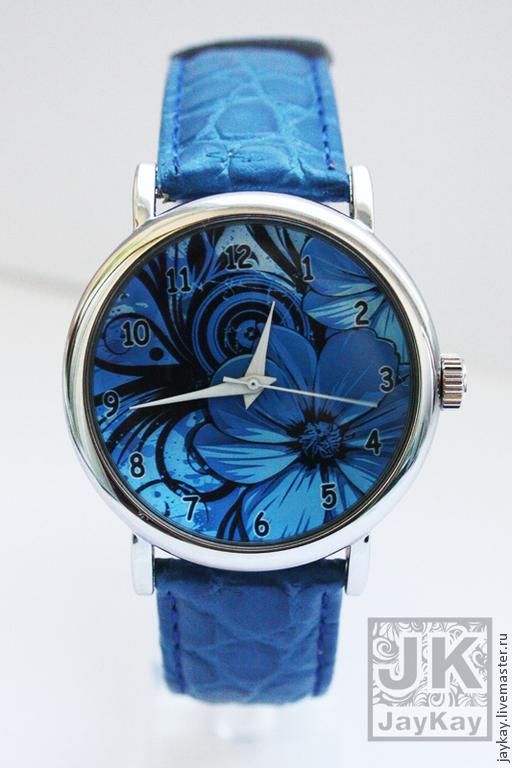 """Часы ручной работы. Ярмарка Мастеров - ручная работа. Купить Часы наручные JK """"Синий букет"""". Handmade. Синий"""