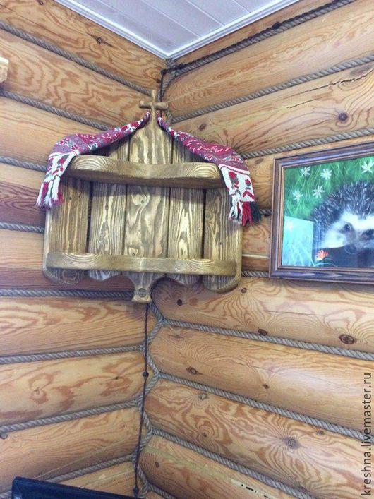 """Мебель ручной работы. Ярмарка Мастеров - ручная работа. Купить Полочка угловая для икон,,.Теплая"""". Handmade. Рыжий, состаренное дерево"""