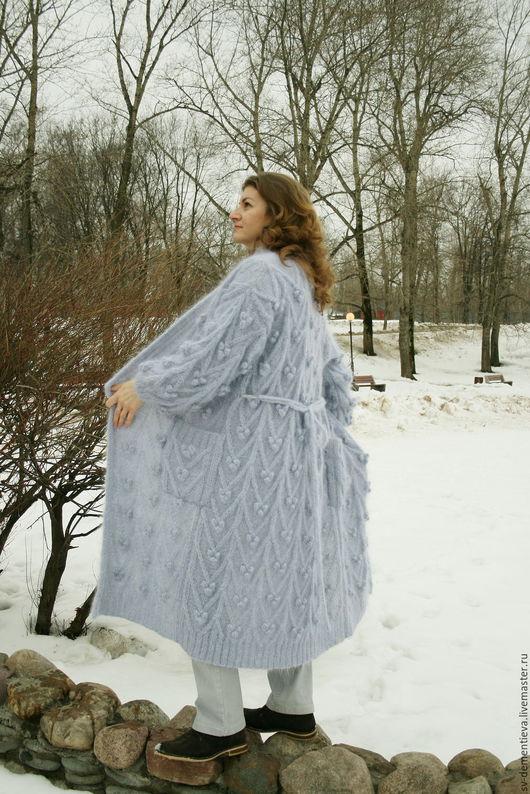 Верхняя одежда ручной работы. Ярмарка Мастеров - ручная работа. Купить Пальто легкое вязаное мохер. Handmade. Голубой, мохер