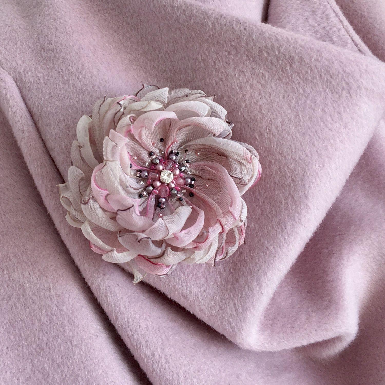 Брошь цветок из ткани купить москва