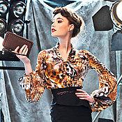 """Одежда ручной работы. Ярмарка Мастеров - ручная работа Блузка из шёлка """"Я и чуть-чуть леопарда"""". Handmade."""