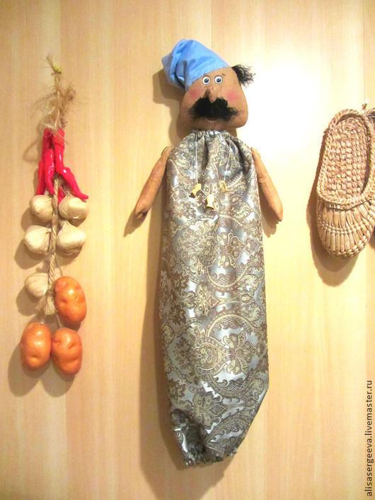 """Кухня ручной работы. Ярмарка Мастеров - ручная работа. Купить Пакетница """"Сеньор повар""""). Handmade. Кухня, текстиль"""