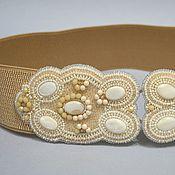Аксессуары handmade. Livemaster - original item Beige wide elastic belt bead pearls embroidery. Handmade.