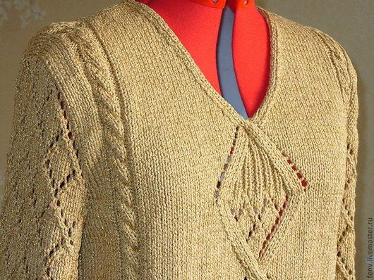 Кофты и свитера ручной работы. Ярмарка Мастеров - ручная работа. Купить Пуловер с узором ромбы. Handmade. Бежевый, пуловер на спицах