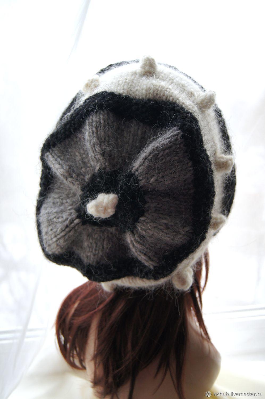 900b031154bff ... Icelandic · Berets handmade. Takes boho knitted Gray-black-and-white  bulk of Icelandic ...