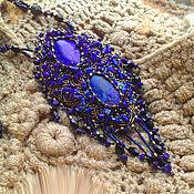 Украшения handmade. Livemaster - original item Large pendant(necklace) Blue garden lapis Lazuli, azurite, gold beads, fringe. Handmade.