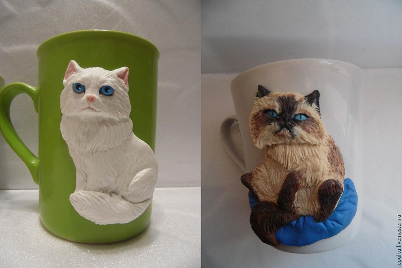 Кружки с декором из полимерной глины. Котики и кошечки, Кружки и чашки, Таловая,  Фото №1