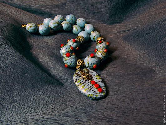 """Колье, бусы ручной работы. Ярмарка Мастеров - ручная работа. Купить Бусы этно """"Бирюзовая Африка"""" из полимерной глины. Handmade."""
