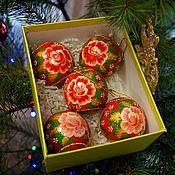 Елочные игрушки ручной работы. Ярмарка Мастеров - ручная работа Комплект елочных шаров  Красный цветок,елочные игрушки. Handmade.