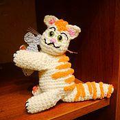 Куклы и игрушки ручной работы. Ярмарка Мастеров - ручная работа Котейка с рыбой (кот амигуруми). Handmade.