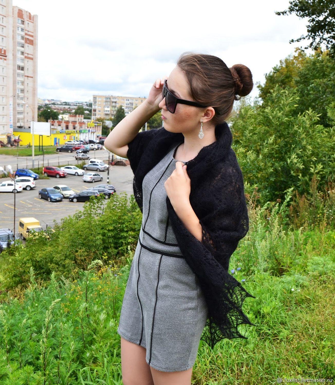 Shawl down, shawl knitted openwork, Orenburg downy shawl, Shawls, Izhevsk,  Фото №1