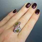 Украшения handmade. Livemaster - original item Ring with green sapphires and emeralds. Handmade.