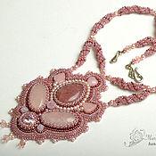 Украшения handmade. Livemaster - original item The pendant and bead embroidery Ashes of roses pink. Handmade.