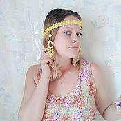 Русский стиль handmade. Livemaster - original item Women`s eyeglass with pendants in yellow tones.Author`s costume jewelry.. Handmade.