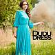 Платья ручной работы. Кружевное платье в пол бирюза. Dudu-dress. Ярмарка Мастеров. Голубое платье, платье с рукавами, масло