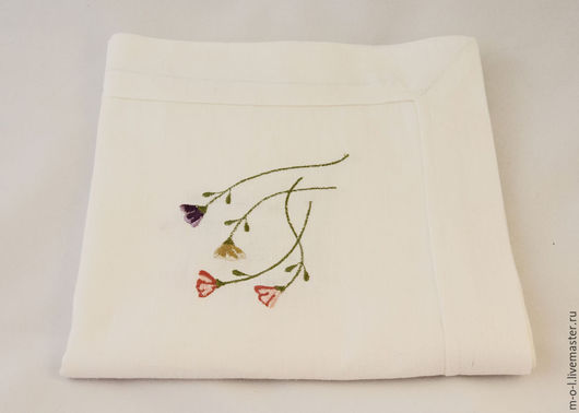 Кухня ручной работы. Ярмарка Мастеров - ручная работа. Купить Большая льняная салфетка с машинной вышивкой «прованс». Handmade. Белый