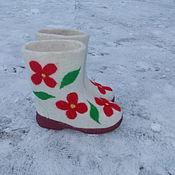 Обувь ручной работы. Ярмарка Мастеров - ручная работа Валенки детские Цветочные. Handmade.