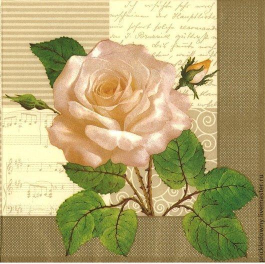 Декупаж и роспись ручной работы. Ярмарка Мастеров - ручная работа. Купить Белая роза в золотистой рамке. Handmade. Бежевый
