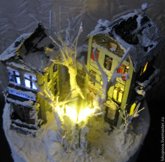"""Кукольный дом ручной работы. Ярмарка Мастеров - ручная работа. Купить Миниатюра """"Ночь, улица, фонарь, аптека"""". Handmade. Миниатюра"""