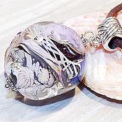 Украшения handmade. Livemaster - original item Undersea world with blue jellyfish of the sea lampwork pendant. Handmade.