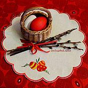 Для дома и интерьера ручной работы. Ярмарка Мастеров - ручная работа салфетка вышитая Весёлая Пасха круглая. Handmade.