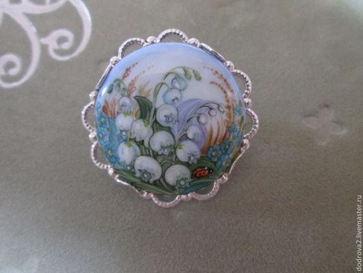 """Броши ручной работы. Ярмарка Мастеров - ручная работа. Купить Брошь """"Ландыши"""". Handmade. Голубой, живописная эмаль, миниатюрная живопись"""