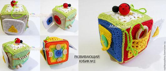 Развивающие игрушки ручной работы. Ярмарка Мастеров - ручная работа. Купить Развивающий кубик №2. Handmade. Комбинированный, кубик развивающий