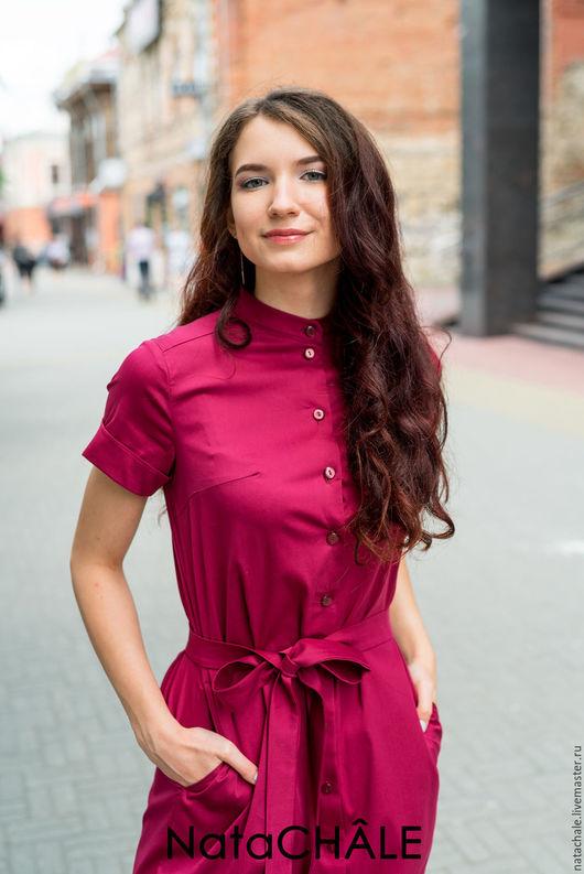 Платья ручной работы. Ярмарка Мастеров - ручная работа. Купить Хлопковое платье-рубашка 46 Рубин. Handmade. Бордовый, лето
