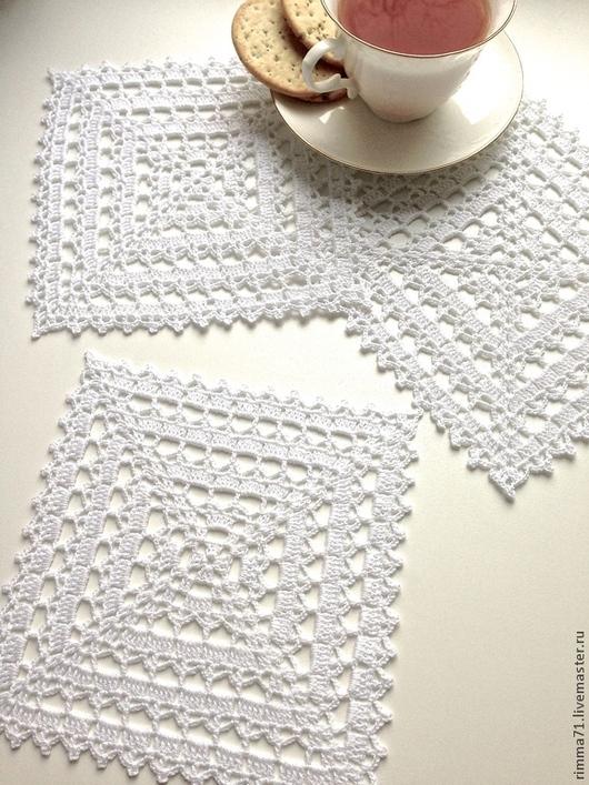 Текстиль, ковры ручной работы. Ярмарка Мастеров - ручная работа. Купить Салфетка маленькая, вязаная.. Handmade. Белый, прованс, подарок