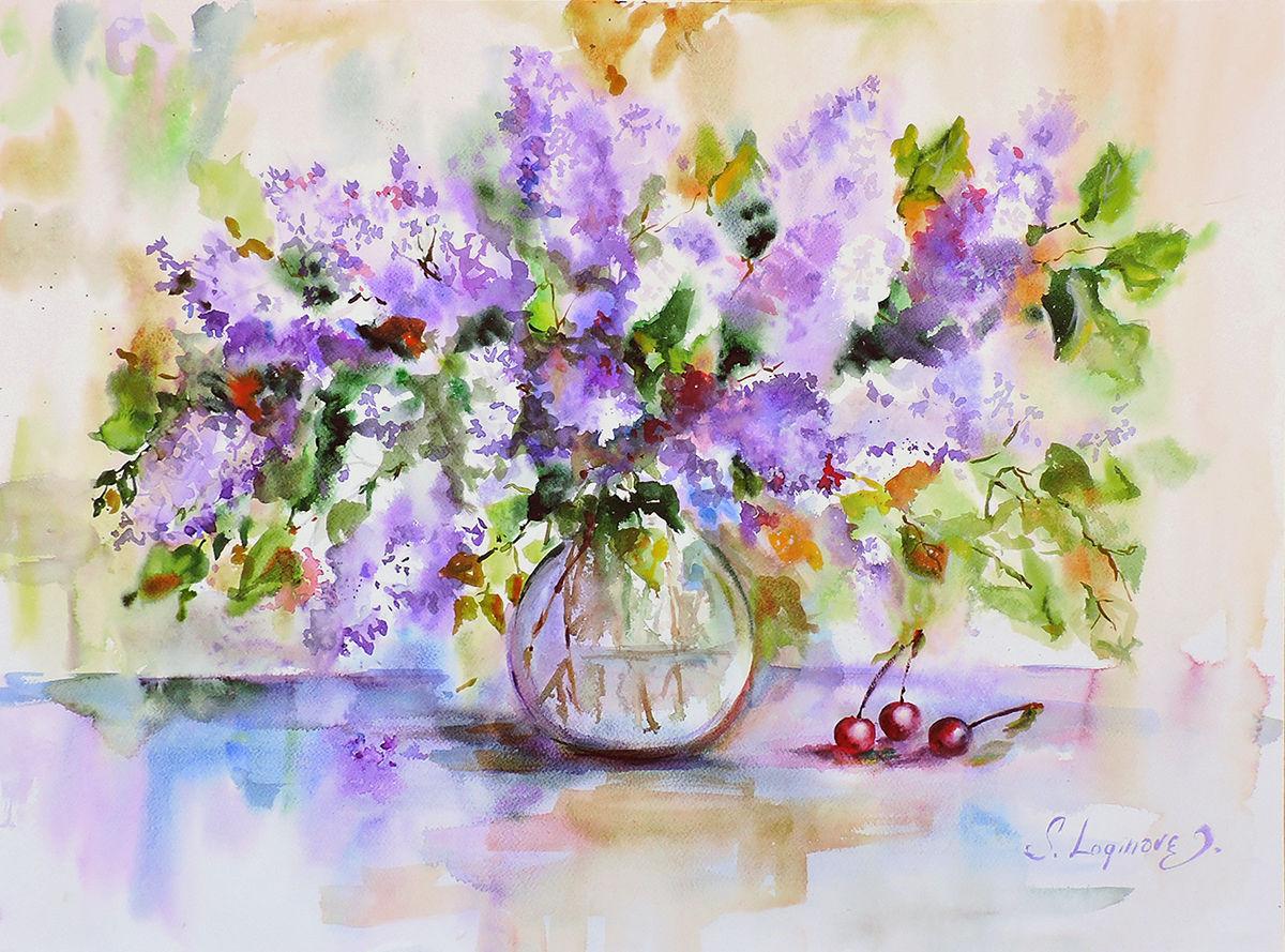 Картина акварель, акварель цветы, Картина с сиренью, картина сирень, Картины, Находка,  Фото №1