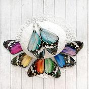 Серьги классические ручной работы. Ярмарка Мастеров - ручная работа Серьги разноцветные крылья бабочек. Handmade.