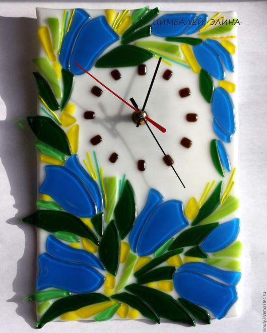 """Часы для дома ручной работы. Ярмарка Мастеров - ручная работа. Купить Часы """"Колокольчики"""".Фьюзинг.. Handmade. Синий, колокольчик"""