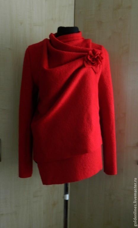 Верхняя одежда ручной работы. Ярмарка Мастеров - ручная работа. Купить пальто трансформер-3. Handmade. Ярко-красный