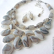 Украшения handmade. Livemaster - original item 2нити NECKLACE + EARRINGS GREY AGATE beads.. Handmade.