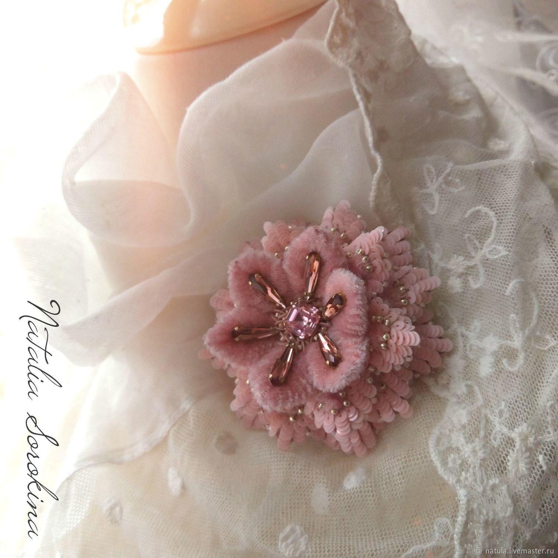 Обьемный цветок, цвет розовая пудра, Брошь-булавка, Санкт-Петербург,  Фото №1