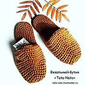 """Обувь ручной работы. Ярмарка Мастеров - ручная работа Вязаные домашние тапочки """"Горчица""""(вязаные шлепанцы, вязаная обувь). Handmade."""